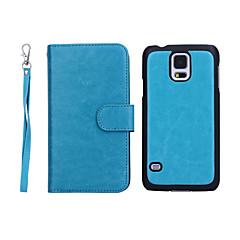 رخيصةأون -غطاء من أجل Samsung Galaxy S5 محفظة / حامل البطاقات / قلب غطاء كامل للجسم لون سادة جلد أصلي