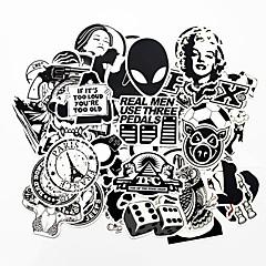 olcso -ziqiao 100 db fekete-fehér hűvös DIY matricák az autó gördeszka laptop csomagok snowboard hűtőszekrény telefon játék stílus lakberendezési matricák