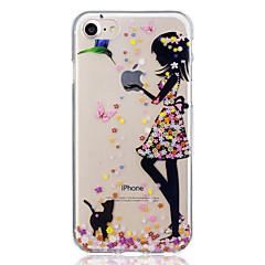 voordelige -hoesje Voor Apple iPhone 7 Plus / iPhone 7 / iPhone 6s Plus Patroon Achterkant Kat / Sexy dame Zacht TPU