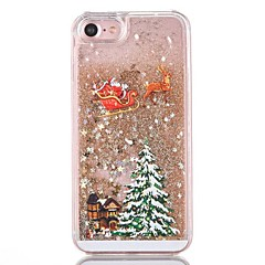voordelige -hoesje Voor iPhone 7 / iPhone 7 Plus / iPhone 6s Plus iPhone 8 Plus / iPhone 8 / iPhone 7 Plus Stromende vloeistof Achterkant Glitterglans / Kerstmis Hard PC