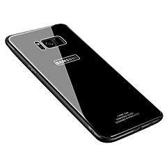 olcso -Case Kompatibilitás Samsung Galaxy S8 Plus / S8 Ultra-vékeny Fekete tok Egyszínű Kemény Hőkezelt üveg