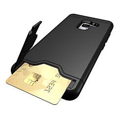 olcso -Case Kompatibilitás Samsung A5(2018) / Galaxy A7(2018) / A3 (2017) Kártyatartó / Ütésálló / Állvánnyal Fekete tok Egyszínű Kemény PC