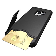 رخيصةأون -غطاء من أجل Samsung Galaxy S9 / S9 Plus / S8 Plus حامل البطاقات / ضد الصدمات / مع حامل غطاء خلفي لون سادة قاسي الكمبيوتر الشخصي