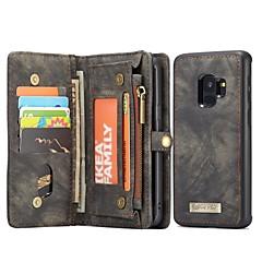 رخيصةأون -غطاء من أجل Samsung Galaxy S9 محفظة / حامل البطاقات / مع حامل غطاء كامل للجسم لون الصلبة قاسي جلد أصلي