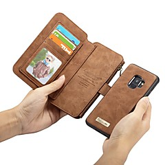 رخيصةأون -غطاء من أجل Samsung Galaxy S9 / S9 Plus / S8 Plus محفظة / حامل البطاقات / ضد الصدمات غطاء كامل للجسم لون سادة قاسي جلد أصلي
