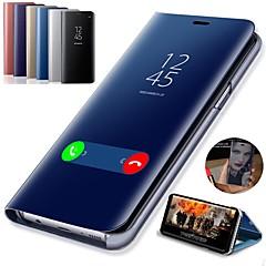 رخيصةأون -غطاء من أجل Samsung Galaxy S9 / S9 Plus / S8 Plus مع حامل / تصفيح / مرآة غطاء كامل للجسم لون سادة قاسي جلد PU