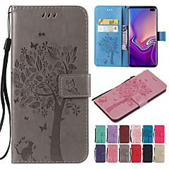 رخيصةأون -غطاء من أجل Samsung Galaxy S9 / S9 Plus / S8 Plus محفظة / حامل البطاقات / مع حامل غطاء كامل للجسم قطة / شجرة قاسي جلد PU