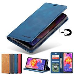 رخيصةأون -غطاء من أجل Samsung Galaxy S9 / S9 Plus / S8 Plus حامل البطاقات / مع حامل / مغناطيس غطاء كامل للجسم لون سادة قاسي جلد PU