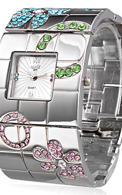 olcso -Női Karóra Square Watch Japán Kvarc Rozsdamentes acél Ezüst Alkalmi óra hölgyek Luxus Virág Bohém Bokaperec - Ezüst Egy év Akkumulátor élettartama / SSUO SR626SW