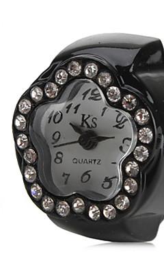 olcso -Női Gyűrűóra Diamond Watch Japán Kvarc Fekete / Fehér / Pink utánzat Diamond hölgyek Virág - Fehér Fekete Rózsaszín