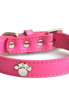 ieftine -Câine Gulere Ajustabile / Retractabil Απαλό Amprentă picior Piele autentică Rosu Albastru Roz