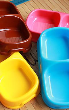 رخيصةأون -قط كلب الطاسات وزجاجات بلاستيك مقاوم للماء المحمول بني أزرق زهري السلطانيات والتغذية