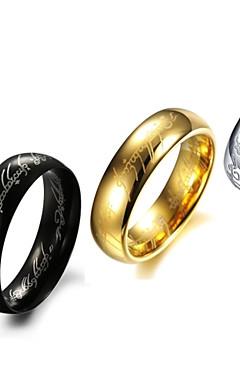 رخيصةأون -رجالي عصابة الفرقة أسود فضي ذهبي الصلب التيتانيوم Circle Shape مخصص زفاف مناسب للحفلات مجوهرات رخيص