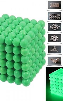 رخيصةأون -216pcs 5mm DIY Buckyballs and Buckycubes Magnetic Blocks Balls Toys Fluorescent Green