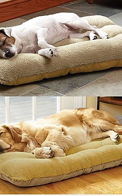 رخيصةأون -كبير عش الكلب حيوان أليف مع حصيرة الضأن من جلد الغزال (الحالة الوحيدة) 95 * 60