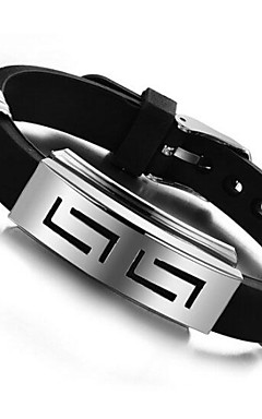 povoljno -Muškarci ID narukvica Personalized Jedinstven dizajn Silikon Narukvica Nakit Crn Za Dnevno Kauzalni / Titanium Steel