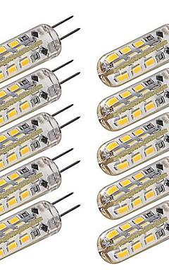 رخيصةأون -10pcs أضواء LED ذرة 100-120 lm G4 T 24 الخرز LED SMD 3014 تخفيت أبيض دافئ أبيض كول 12 V / 10 قطع / بنفايات