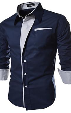 hesapli -Erkek Forma Yaka İnce - Gömlek Temel, Solid Büyük Bedenler Beyaz / Uzun Kollu / Bahar / Sonbahar