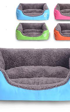 رخيصةأون -قط كلب مرتبة السرير الأسرّة بطانيات السرير قماش قطن حيوانات أليفة الحصير والوسادات لون سادة مقاوم للماء جميل أحمر الخمر برتقالي أخضر