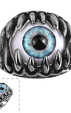 رخيصةأون -رجالي خاتم أسود الفولاذ المقاوم للصدأ الصلب التيتانيوم بانغك فضفاض مجوهرات عين الشر سحر