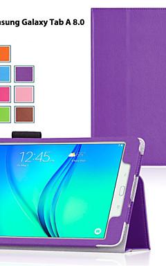 رخيصةأون -غطاء من أجل Samsung Galaxy / علامة التبويب A 8.0 / علامة التبويب A 9.7 مع حامل / قلب غطاء كامل للجسم لون سادة جلد PU