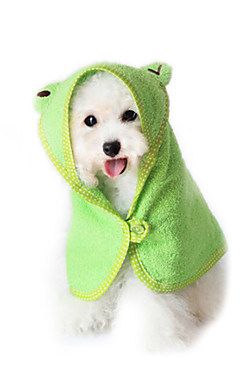 رخيصةأون -قط كلب منشفة بلاستيك قطن المحمول حيوانات أليفة أدوات الحلاقة أبيض أصفر أخضر