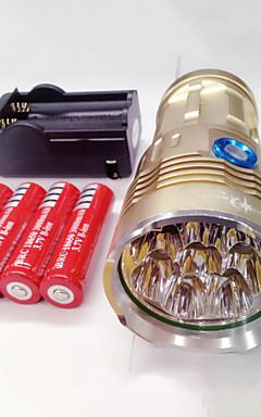 Недорогие -Светодиодные фонари Водонепроницаемый Перезаряжаемый 9600lm Светодиодная лампа LED 8 излучатели 3 Режим освещения с батарейками и зарядным устройством Водонепроницаемый Перезаряжаемый Ночное видение