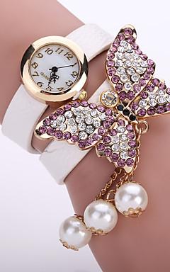 olcso -Női hölgyek Karkötőóra Diamond Watch Kvarc Bőr Fekete / Fehér / Kék Alkalmi óra Analóg Virág Divat - Zöld Rózsaszín Világoskék