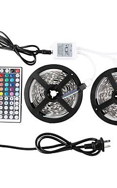 hesapli -Zdm 2x5 m su geçirmez 5050 rgb smd 10mm ışık 44key ir denetleyicisi ile 300 leds setleri 70 w 12v6a güç kaynağı yumuşak ışık şeridi kiti