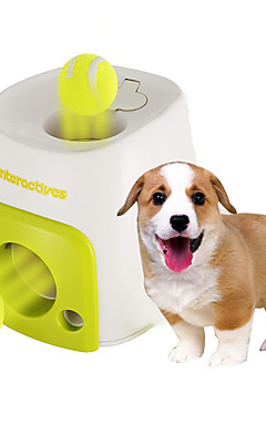 رخيصةأون -الكرات متفاعل قاذفات الكرات لعبة للكلب حيوانات أليفة ألعاب طاحنة الطعام كرة التنس بلاستيك هدية