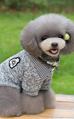 hesapli -Kedi Köpek Tişört Kazaklar Kış Köpek Giyimi Koyu Mavi Gri Kostüm Pamuk Çizgi Sıcak Tutma Moda S M L XL XXL