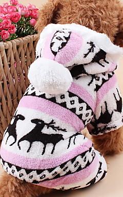 رخيصةأون -قط كلب هوديس حللا منامة الشتاء ملابس الكلاب بني أزرق زهري كوستيوم القطبية ابتزاز الرنة الدفء عيد الميلاد S M L XL XXL