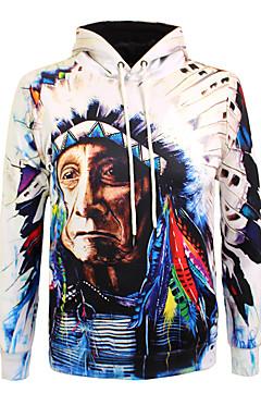 povoljno -Muškarci Boho Dugih rukava Hoodie - Print, 3D / Portret Okrugli izrez / Jesen