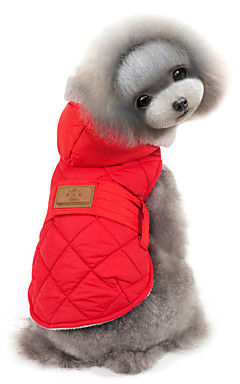 رخيصةأون -قط كلب المعاطف هوديس سترة الشتاء ملابس الكلاب أحمر رمادي كوستيوم قطن لون سادة الدفء ضد الرياح S M L XL XXL