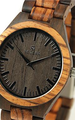 voordelige -Heren Polshorloge Horloge Hout Japans Kwarts Japanse quartz Hout Beige Cool houten Analoog