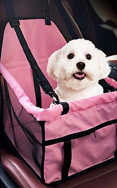 رخيصةأون -قط كلب سيارة مقعد الغطاء حزمة الكلب الحيوانات الأليفة الداعم مقعد حيوانات أليفة حاملات المحمول متنفس مزدوج لون سادة رمادي زهري