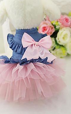 cheap -Dog Dress Jeans Casual / Daily Dog Clothes White Pink Costume Chiffon Denim XS S M L XL XXL