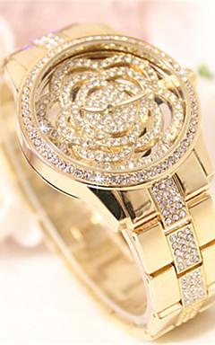 olcso -Női Szimulált Gyémánt Karóra Kvarc Üreges gravírozás ötvözet Zenekar Virág Szikra Ezüst Arany