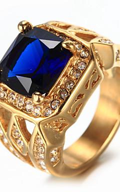 رخيصةأون -رجالي خاتم الخاتم أزرق ياقوتي أبيض أحمر أزرق حجر الراين الصلب التيتانيوم ترف عتيق موضة زفاف عيد ميلاد مجوهرات سوليتير الزمرد قص