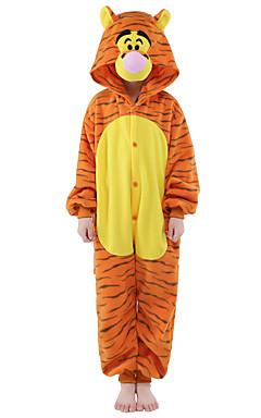 povoljno -Dječji Kigurumi plišana pidžama Tigar Sa životinjama Onesie pidžama Flanel Flis žuta Cosplay Za Dečki i cure Zivotinja Odjeća Za Apavanje Crtani film Festival / Praznik Kostimi