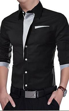 hesapli -Erkek İnce - Gömlek Solid Günlük Siyah / Uzun Kollu / Bahar / Sonbahar