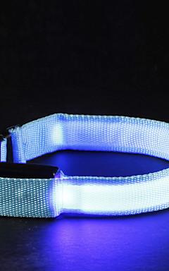 ieftine -Pisici Câine Gulere Lumini LED Ajustabile / Retractabil Mată Nailon Alb Portocaliu Galben