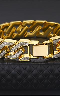ieftine -Bărbați Brățări cu Lanț & Legături Link cubanez Două-Tonuri Manşetă Lux Rock Hip-Hop Șic Stradă Dubai Placat Auriu Bijuterii brățară Auriu / Argintiu Pentru Casual Club