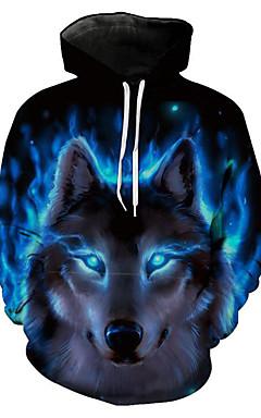 رخيصةأون -رجالي قياس كبير بنطلون - 3D / حيوان ذئب, طباعة أزرق / مع قبعة / كم طويل / الربيع / الشتاء