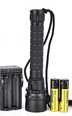 Недорогие -Светодиодные фонари 2000 lm LED излучатели 1 Режим освещения Походы / туризм / спелеология Велосипедный спорт Черный
