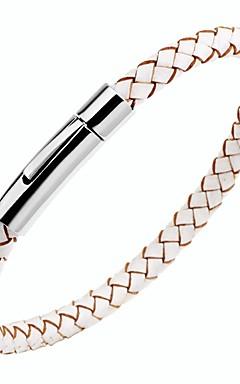 ieftine -Bărbați Pentru femei Bratari din piele Brățară Magnetic Clasic Dulce Teak Bijuterii brățară Negru / Maro / Alb Pentru Cadou Zilnic / Piele