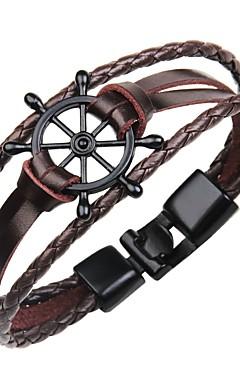 ieftine -Bărbați Brățări Bangle Bratari din piele Brățară Geometric Clasic Vintage Piele  Bijuterii brățară Negru / Maro / Alb Pentru Cadou Stradă / Handmade Link Bracelet