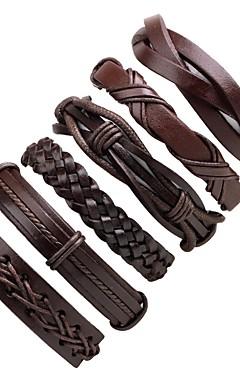 ieftine -6pcs Bărbați Bratari din piele Împletit Grămadă Clasic Cowboy Modă Cool Piele  Bijuterii brățară Negru Pentru Ceremonie Casual Stradă