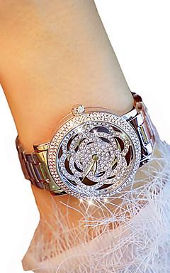 olcso -Női Luxus karórák Karóra Diamond Watch Kvarc Ezüst / Arany Kronográf Fénylő Alkalmi óra Analóg hölgyek Virág Elegáns - Arany Ezüst / utánzat Diamond