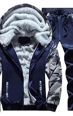 povoljno -Muškarci Osnovni Dugih rukava Activewear Set kamuflaža S kapuljačom